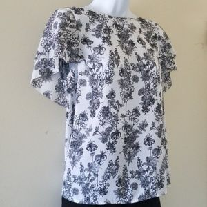 BR Factory floral layered cap sleeve blouse, sz s